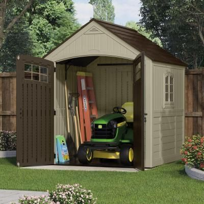 Suncast Sutton 7 Ft 3 In X 4 5 Resin Storage Shed With Side Window Bms7792 The Home Depot