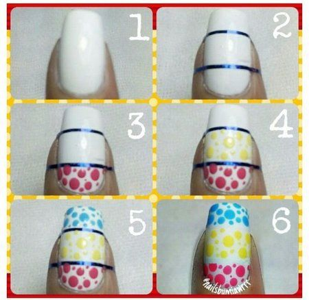 White dotted colored polish tutorial #nails #nailart #springnails - bellashoot.com
