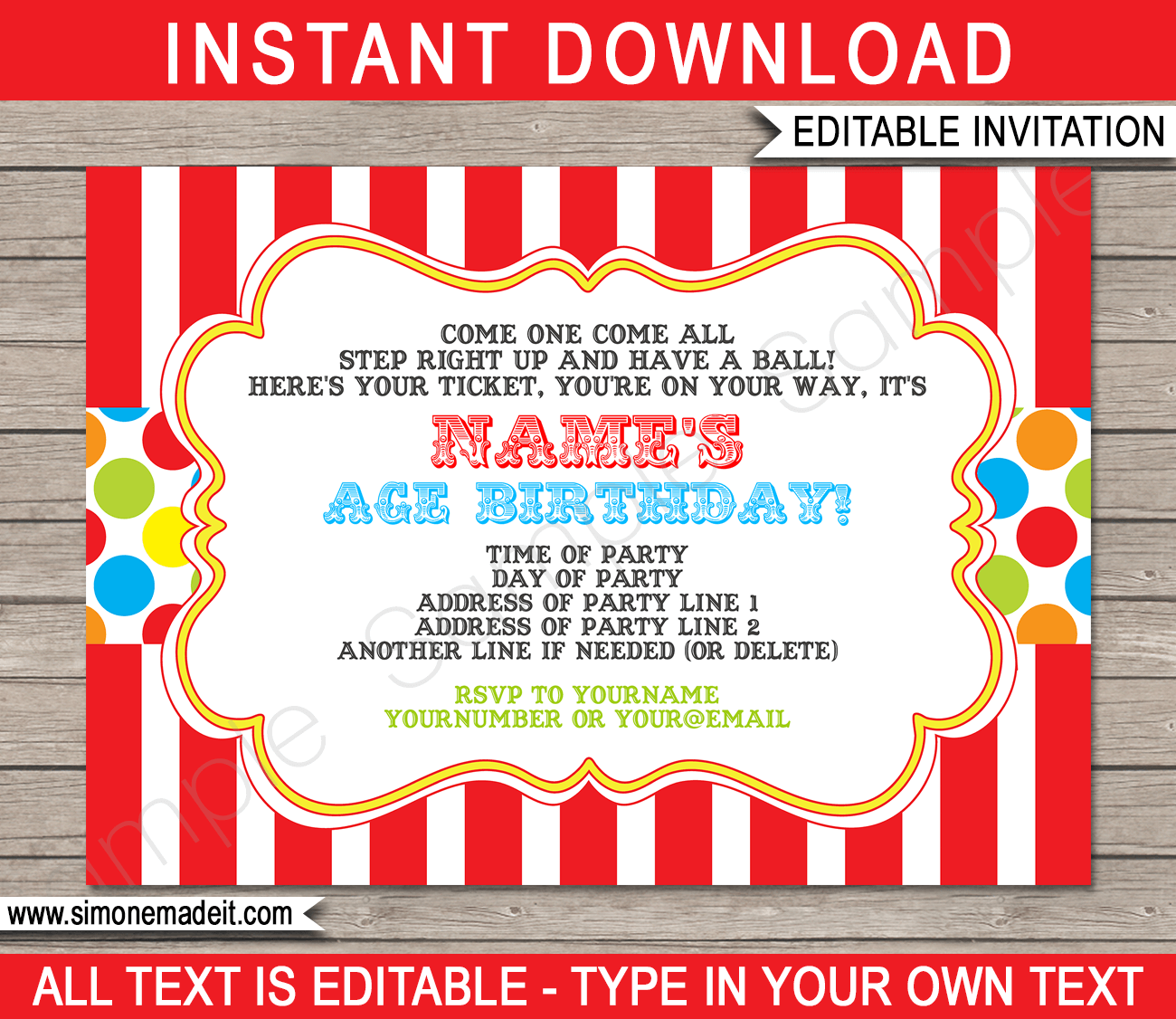 Carnival Invitation Template Colorful Projects To Try Carnival