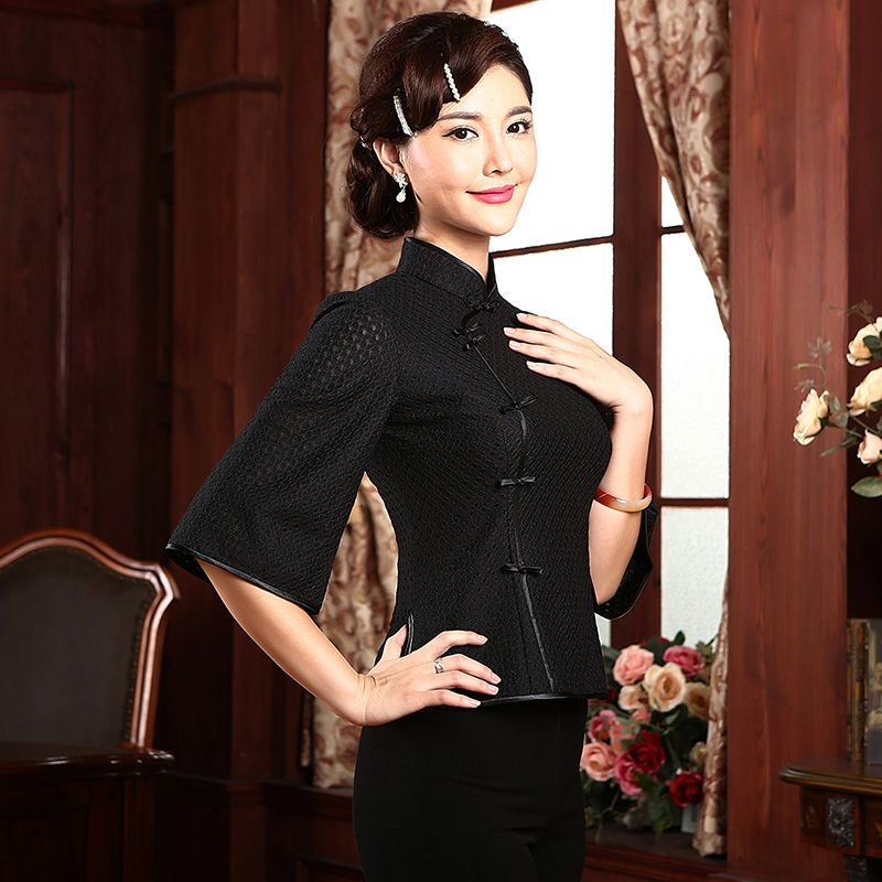 Stylish Mandarin Collar Qipao Cheongsam Shirt - Black - Chinese ...