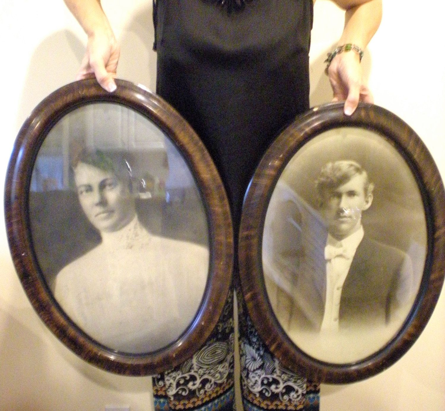 LARGE Wall Hanging, Tiger wood OVAL Frames, Antique Old Photography ...