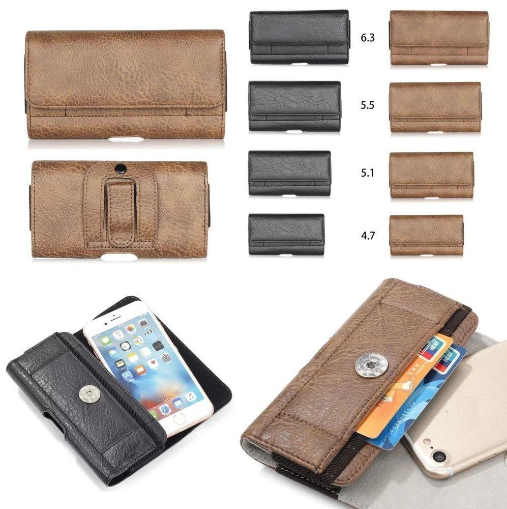 Horizontal belt clip loop holster leather card slot case