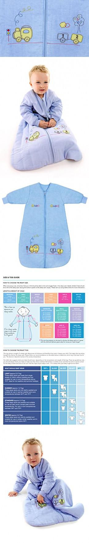 Winter Baby Sleep Sack Long Sleeves 3.5 Tog Choo Choo 6-18 mth/M