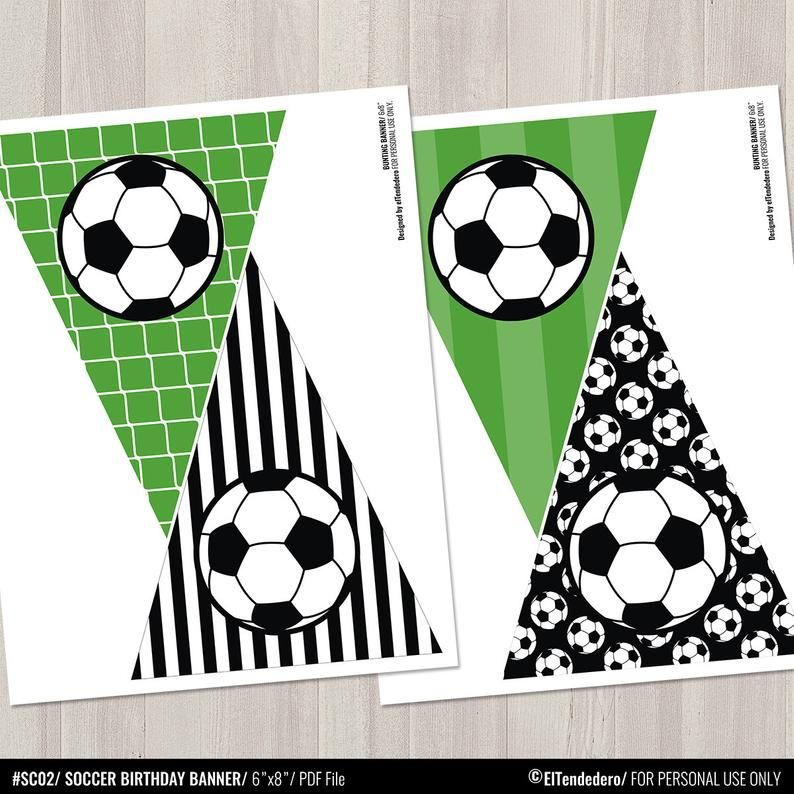 6m Football Shapes Bunting Boys Birthday Party Room Decoration