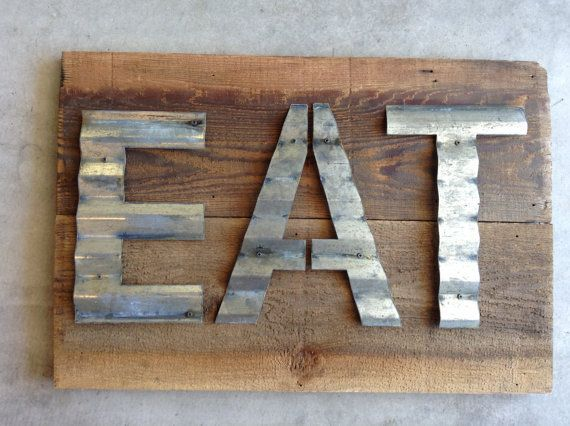 Corrugated Steel Letters Barn Wood And Corrugated Metal  Reclaimed Barn Wood Upcycled Sign