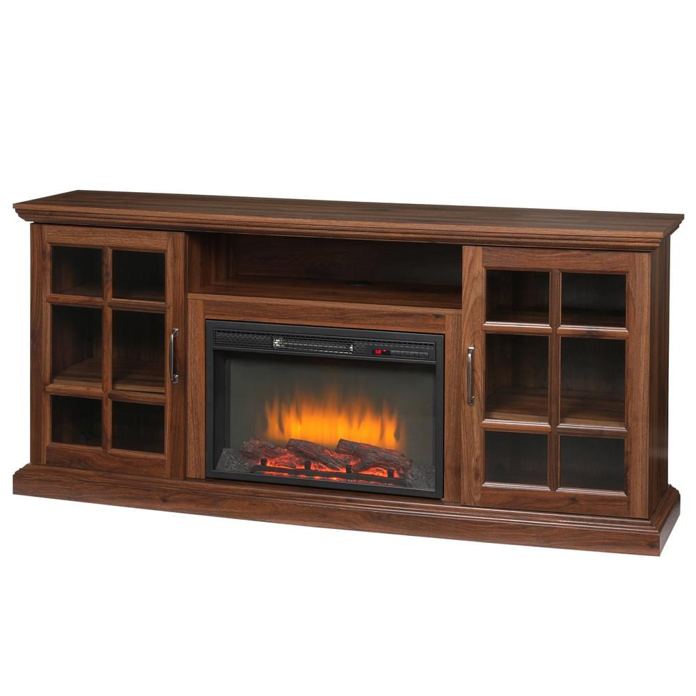 Home Decorators Collection Edenfield 70 In Freestanding Infrared Electric Fireplace Tv Stand In Burnished Walnut 365 741 121 Y The Home Depot Fireplace Tv Stand Fireplace Tv Electric Fireplace Tv Stand