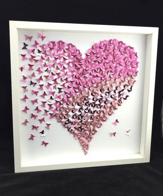 Paper butterfly 3d butterfly wall art butterfly heart butterfly canvas paper butterfly art - Leinwand gestalten basteln ...