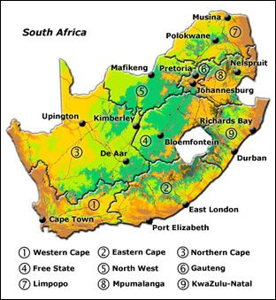 South Africas Provinces Good Reference Info Attached Sheyl - South africa physical map