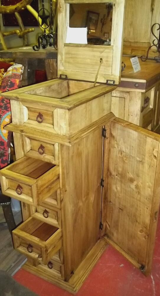 Rustic Pine Jewelry Armoire