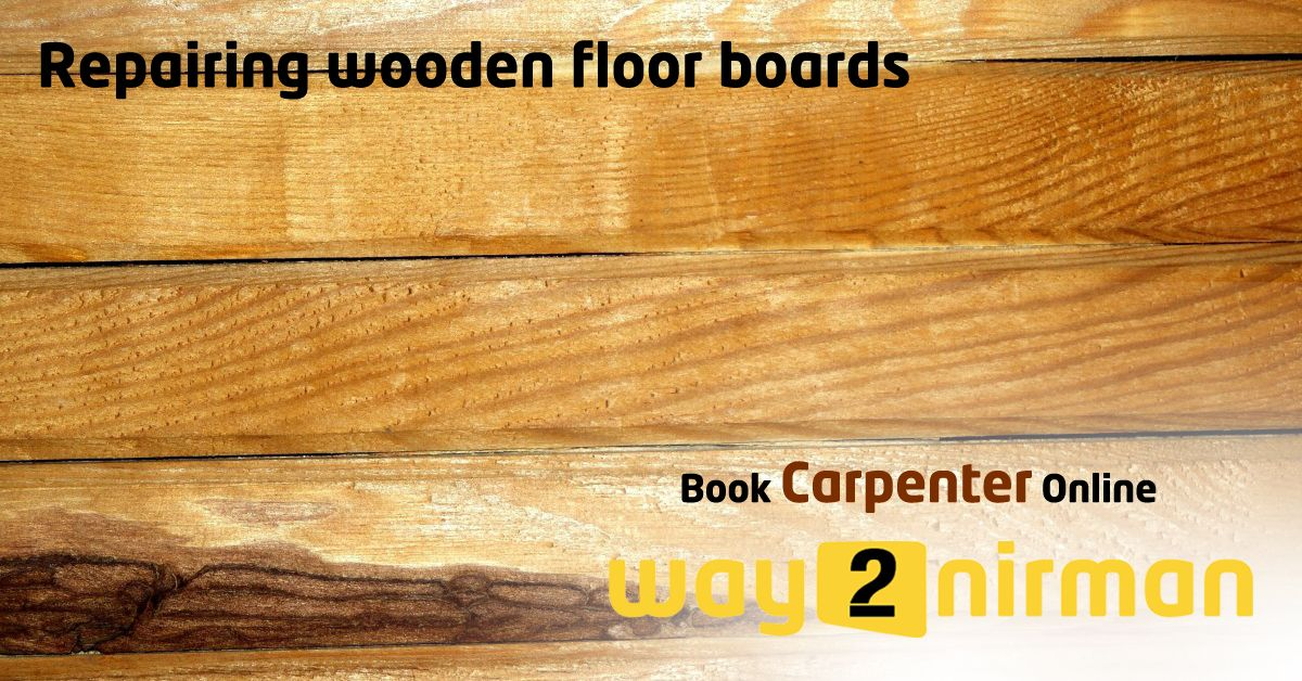 Repairing wooden floor boards. Carpentry services
