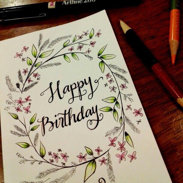 Hand Drawn Birthday Card. Happy Birthday Typography With