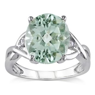 Miadora Sterling Silver 4 1/3ct TGW Green Amethyst and Diamond Accent Cocktail Ring | Overstock.com Shopping - The Best Deals on Gemstone Rings