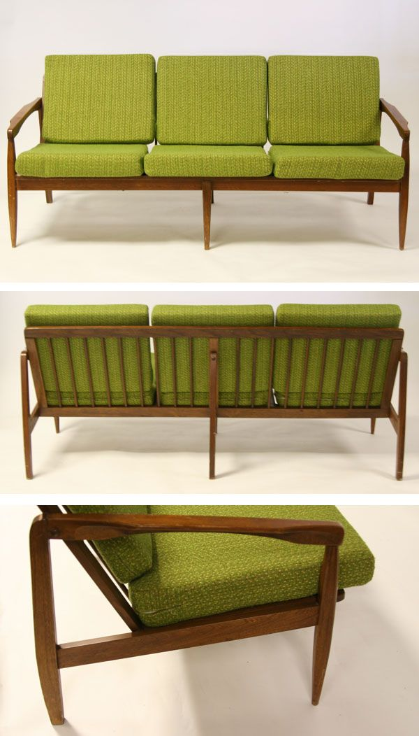 Mid Century Danish Modern Sofa We Had This But Cushions Were Black Brown And Cream Bold Stripe