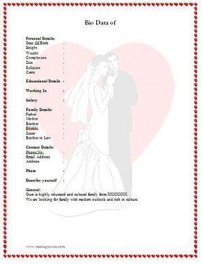 sample biodata format for marriage