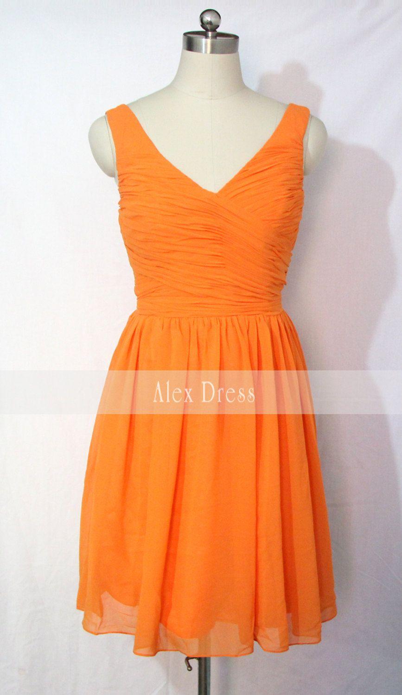 Orange bridesmaid dress short vneck chiffon by alexdress on etsy