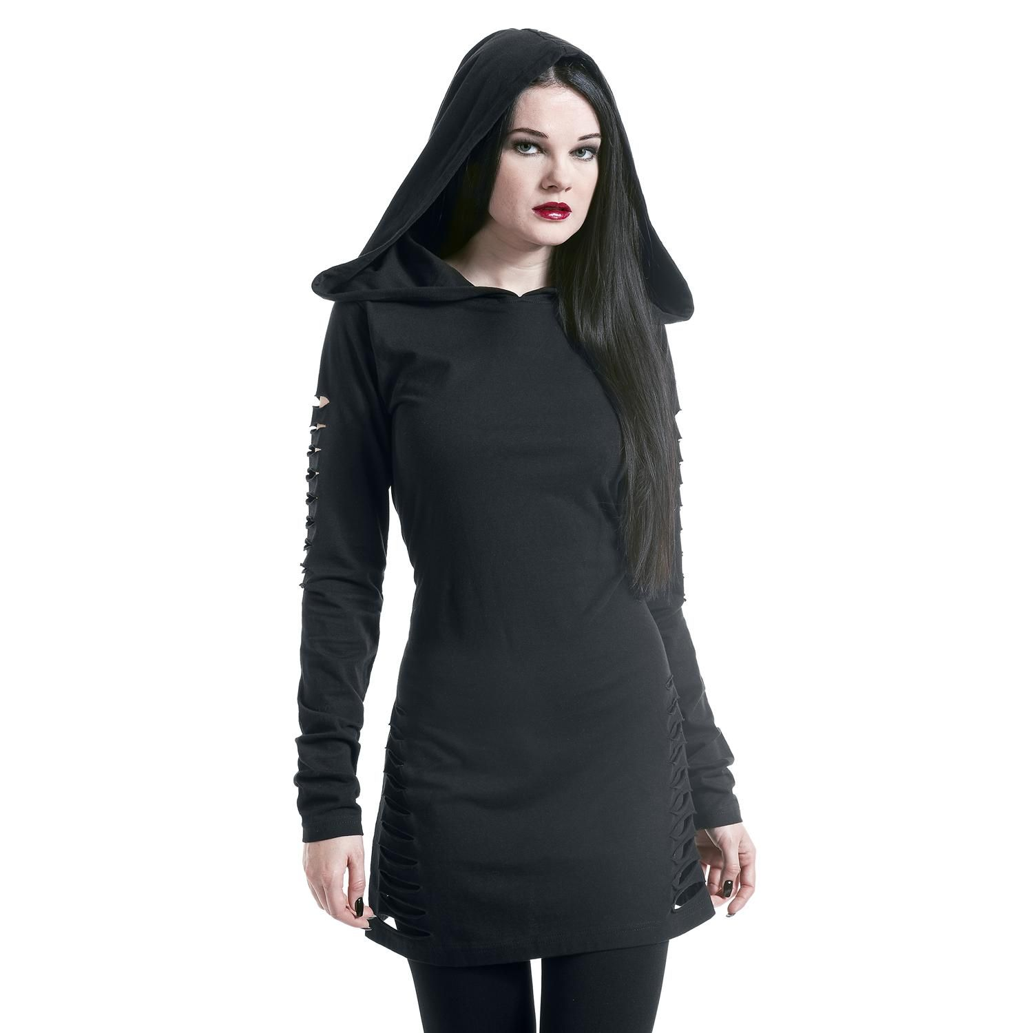 Slitted Long Hoodie by Gothicana by EMP