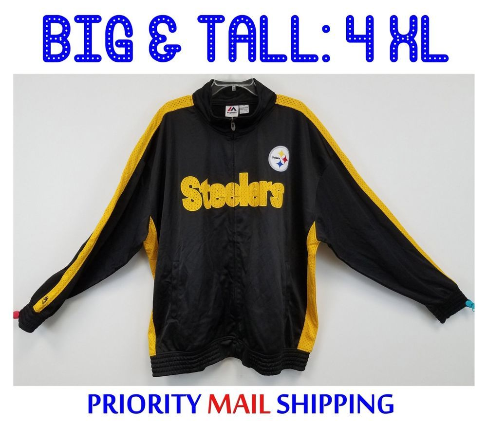 a45c32990 Pittsburgh Steelers Big   Tall Tricot Track Jacket 4XL Majestic NWT  Embroidered  Majestic  PittsburghSteelers