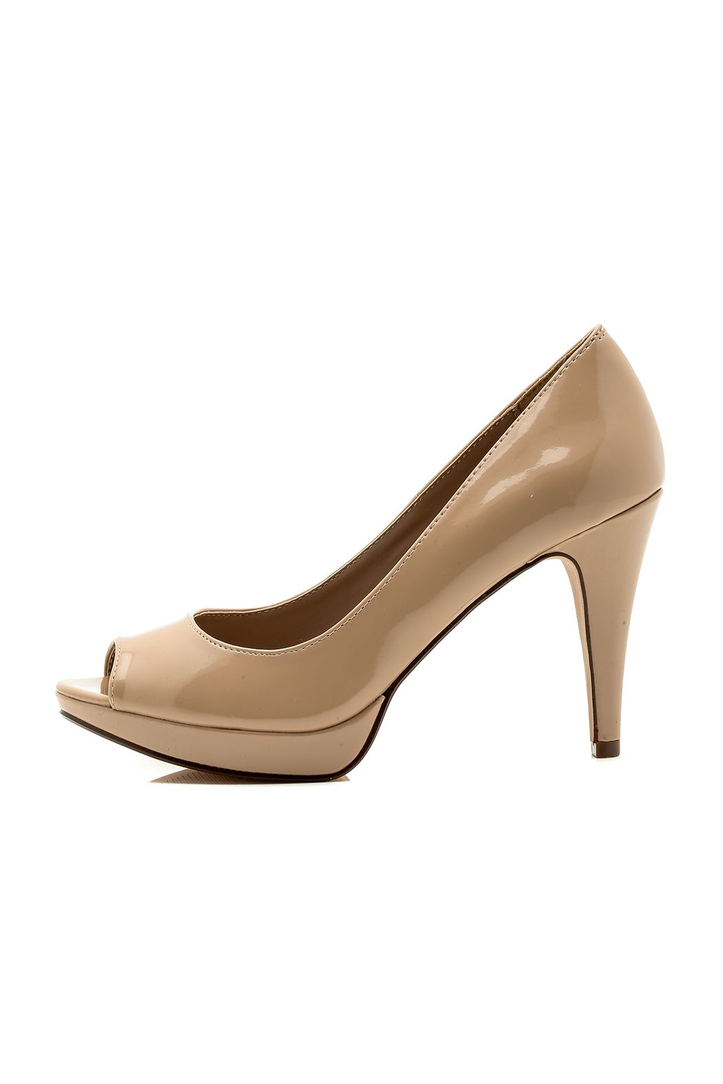 094b835b29 Open toe pump with a slight platform and a peep toe front. This classic nude  heel will be your new go-to shoe. Heel height  4