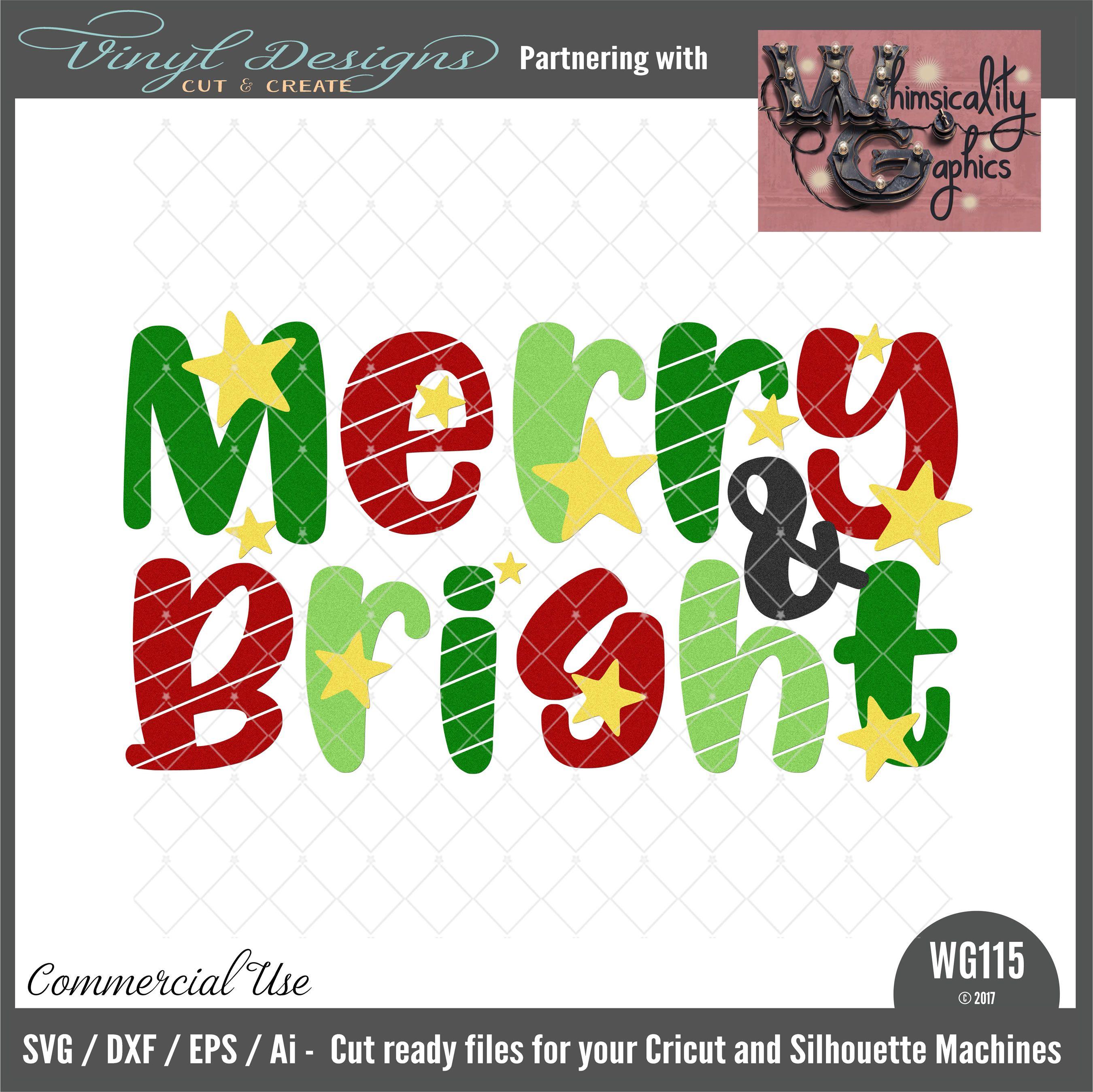 Merry & Bright Christmas svg files, Free stencils