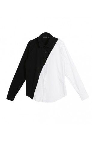 Slash Contrast Shirt - Black & White
