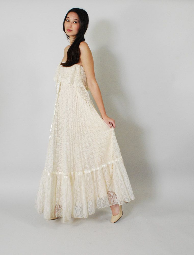 Vintage lace boho wedding dress 70s lace pleated ruffle for Lace maxi wedding dress