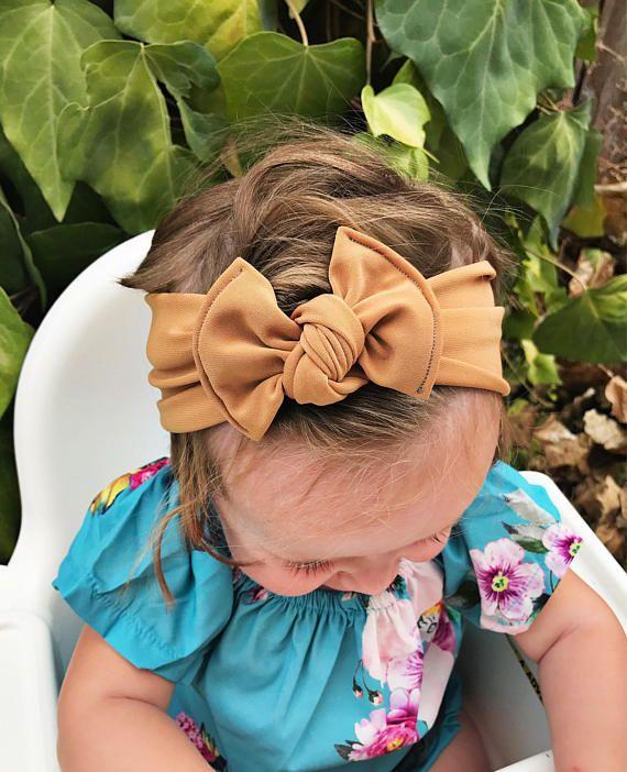 9fd3e4e27bc Camel NYLON Flat bow baby headband nylon newborn headband
