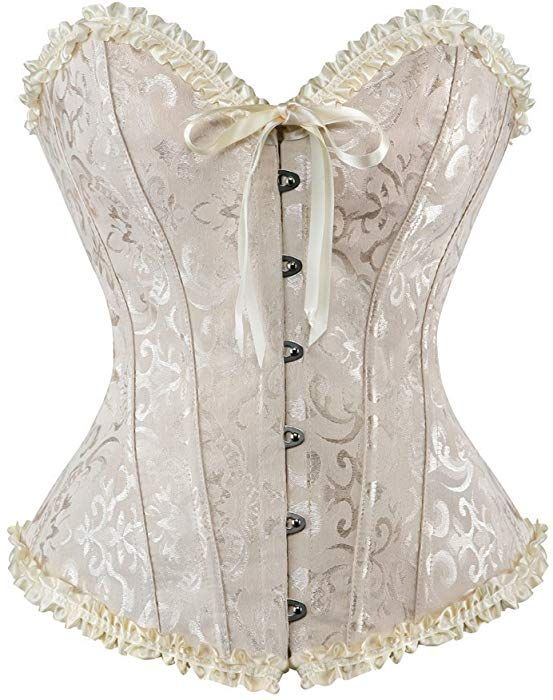 4be871e6263 Amazon.com  Blidece Women s Sexy Boned Lace Push Up Corset Satin Overbust  Bustier Shapewear with G-String 5X-Large  Clothing