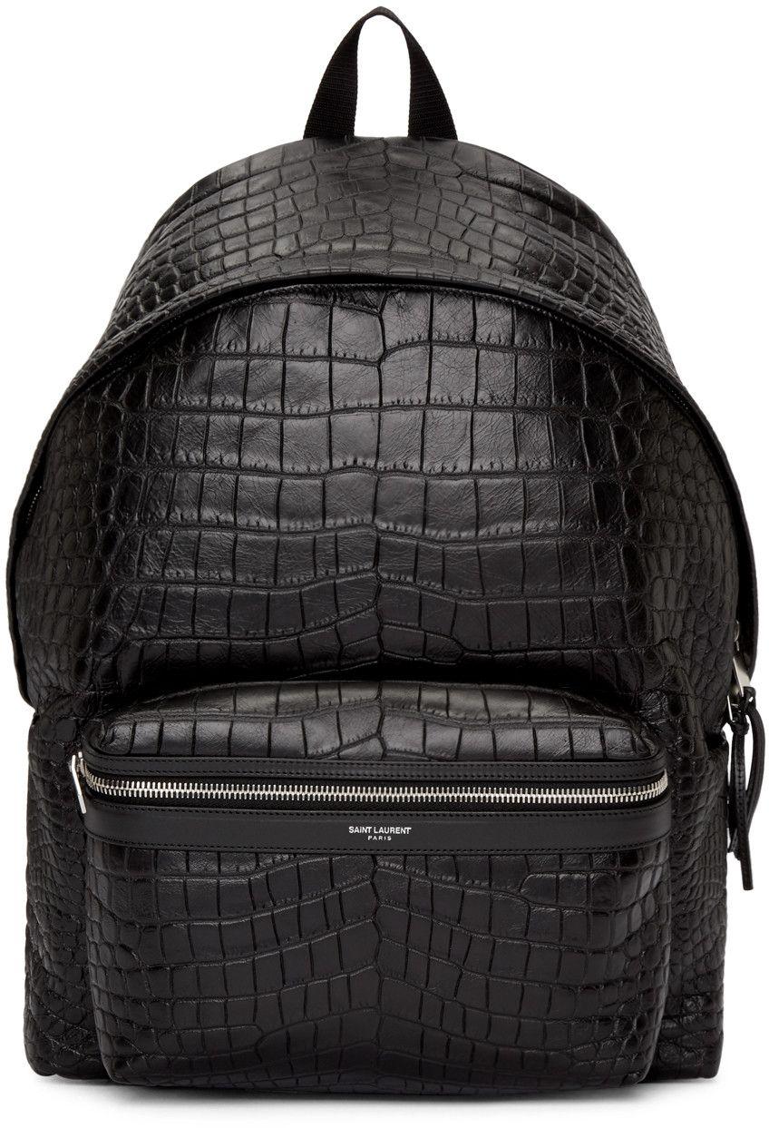 1ad9d81fe6 Saint Laurent - Black Croc-Embossed Leather Backpack