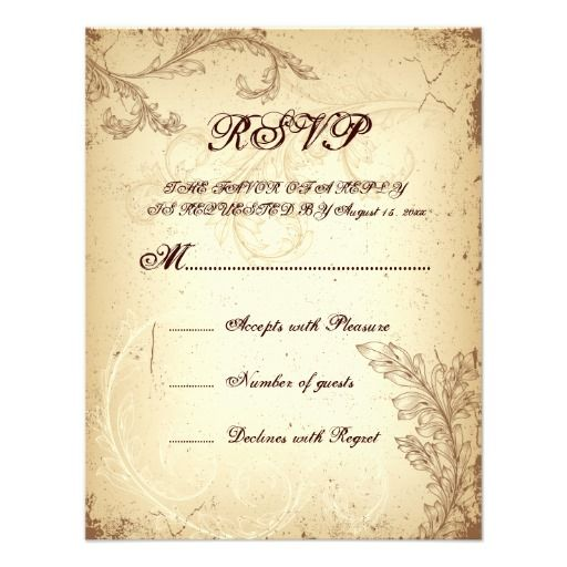 Scroll leaf beige brown vintage wedding RSVP card