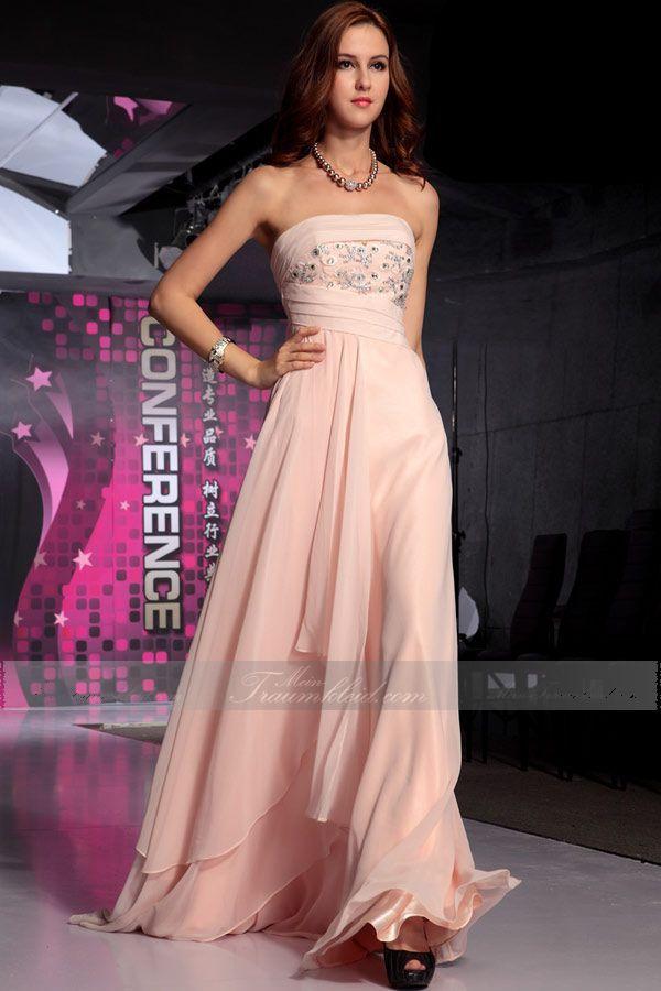 A-linie Trägerlos Chiffon charmantes bodenlanges Abendkleid