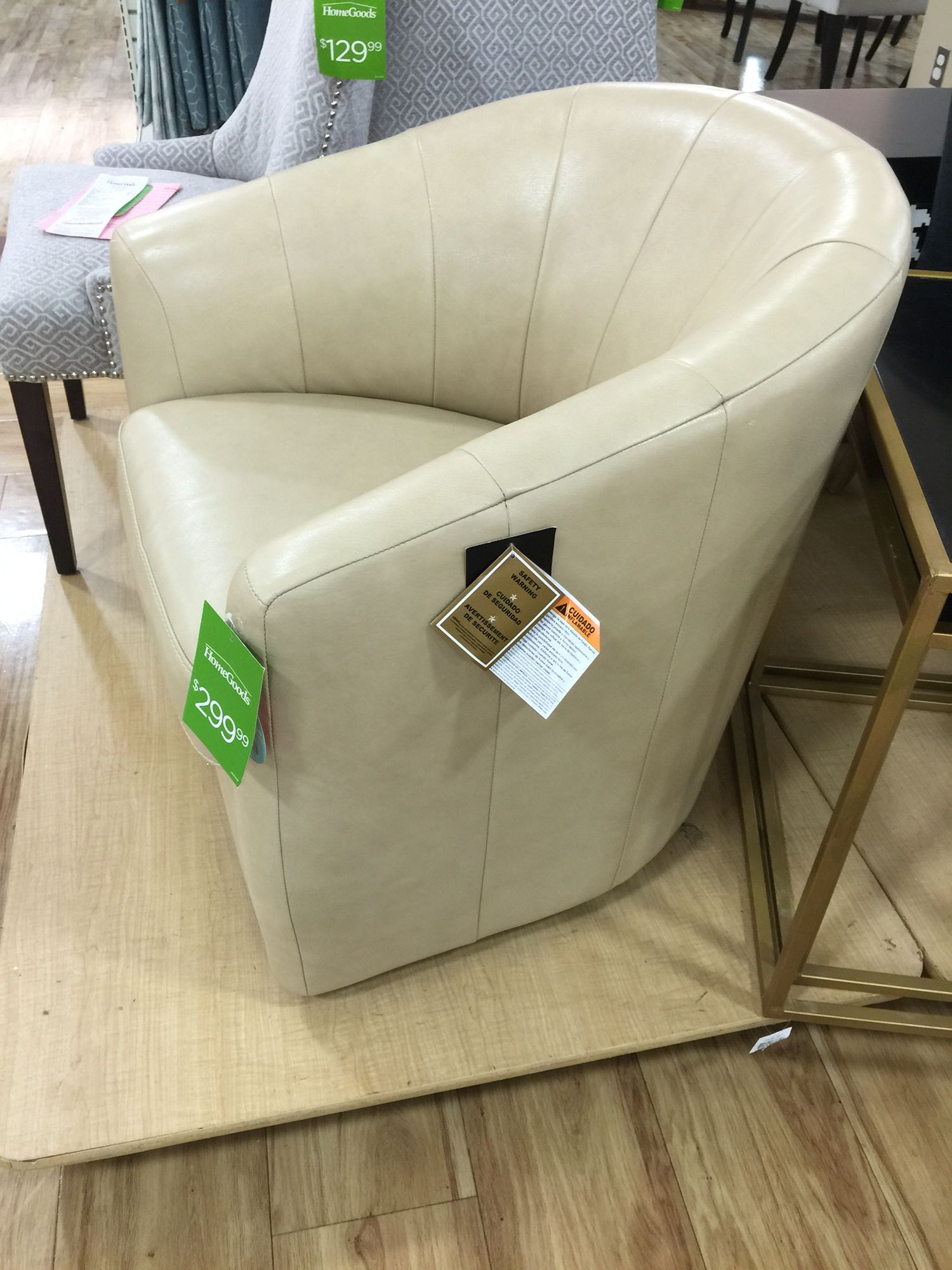 Taupe Leather Swivel Chair Home Goods $300