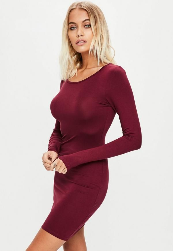 2c7e4d359ea3 Burgundy Long Sleeve Plain Jersey Bodycon Dress | Eliza (current ...