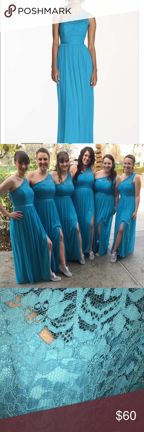 One shoulder bridesmaid dress in malibu blue davidus bridal