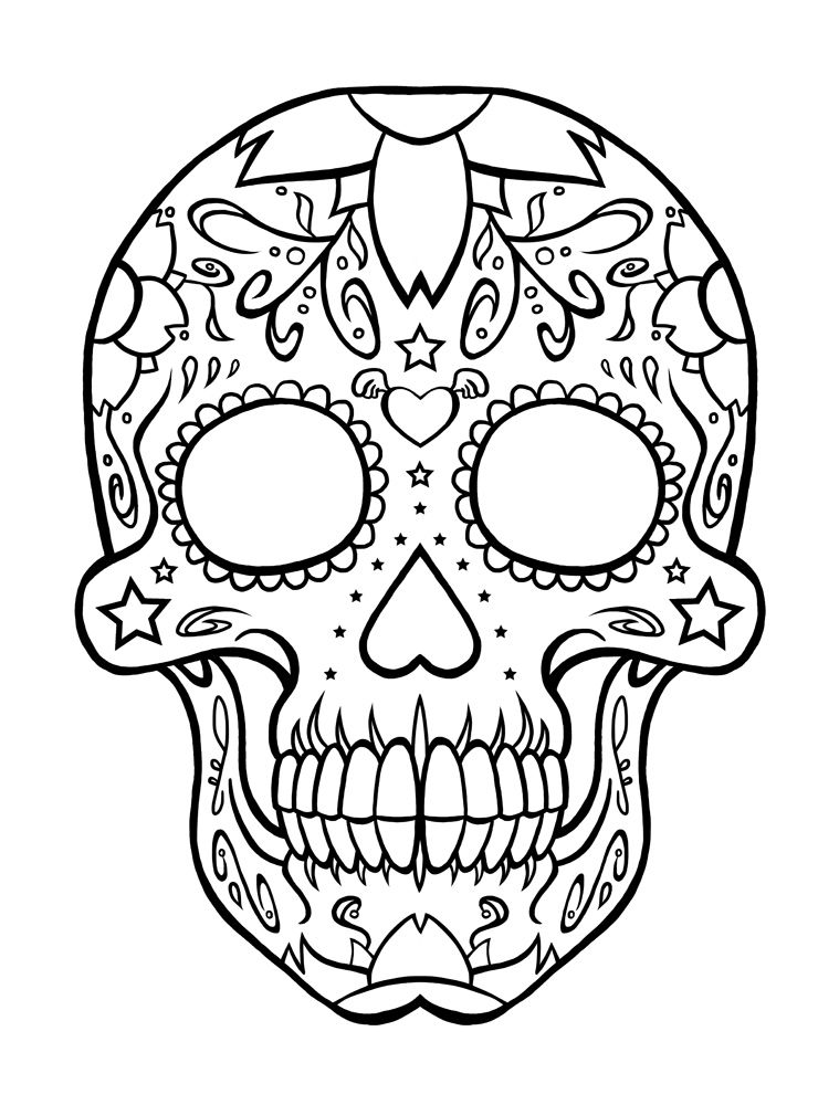 Free Printable Day of The Dead Coloring Pages Skull Pinterest