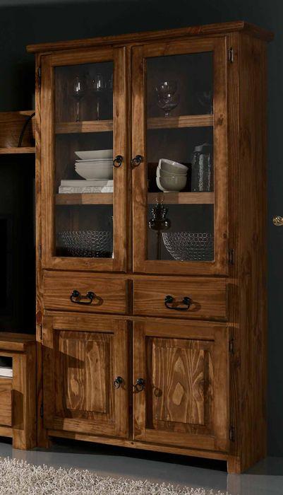 Pin de rustico colonial en vitrinas r sticas en 2019 for Muebles rusticos de madera