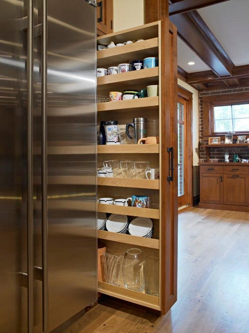 Kitchen Terrific Deep Pull Out Pantry Shelves Made Of Oak Wood In