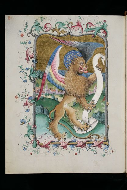 The Symbol Of St Mark The Evangelist A Winged Lion Here Holding A