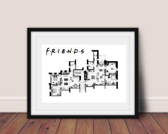 Friends Apartment Poster Floor Plan Tv Show Digital Monicca Geller Room Joey An