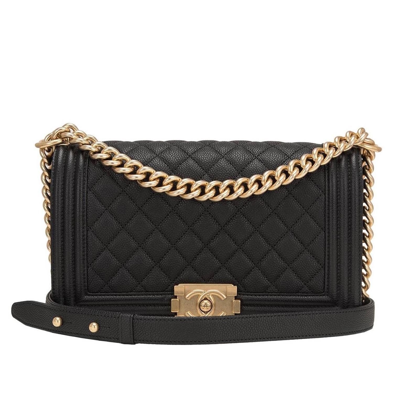 Chanel Black Caviar New Medium Boy Bag with Ruthenium Hardware ... a39410bb33c95