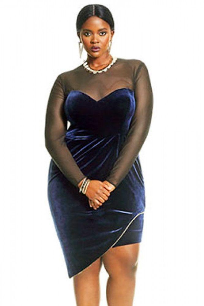 70843395ef3 76Epic Long Sleeve Mesh Insert Velvet Plus Size Dress