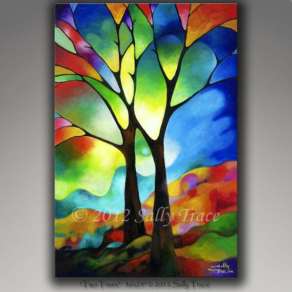 This giclee print is made from my original abstract painting Two Trees. Two friends standing tall in front of a sunset sky. The world behind them is like a stained glass painting.  Also available in smaller sizes: https://www.etsy.com/listing/226235913  24x36 inches, 1.5 inch deep stretcher bars. Printed with rich, vivid Epson pigment inks on a thick poly-cotton archival quality glossy canvas which is PH neutral and acid-free. The image is mirror wrapped around 1.5 deep kiln-dried wooden…