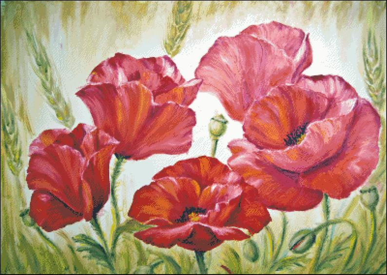 Mohnblumen Im Feld Zahltes Kreuz Stitchmuster Etsy Floral Painting Oil Painting On Canvas Poppy Painting