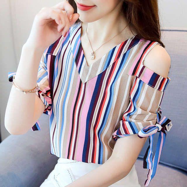Colorido Blusas 2018 Tops Rayas Moda Blusa Mujeres Camisa Y waxfdXEn