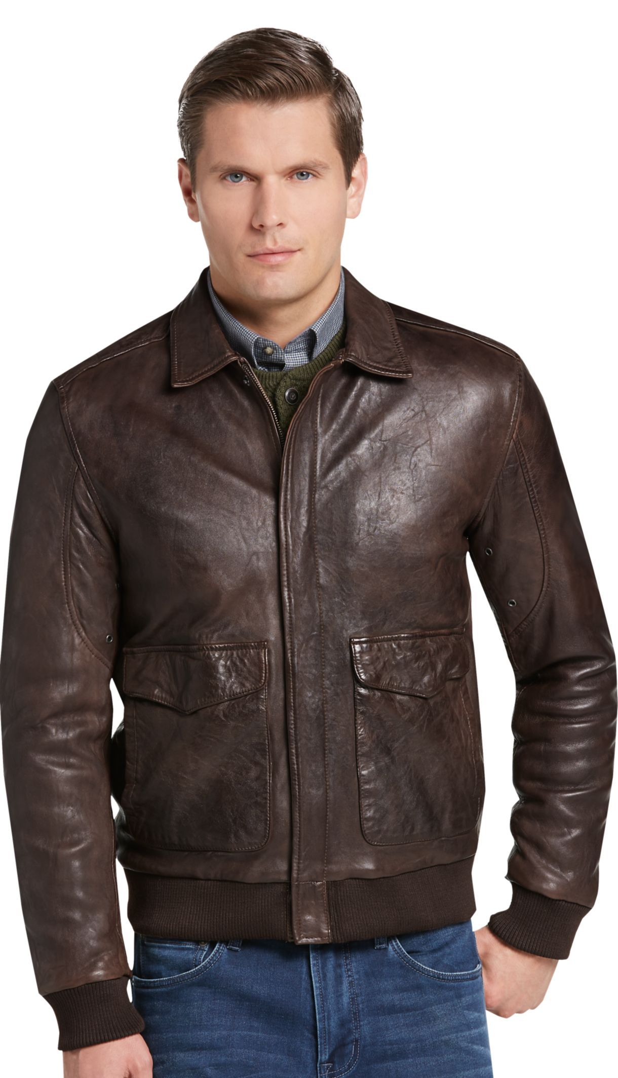 1905 Collection Tailored Fit Leather Bomber Jacket 1905 Outerwear Jos A Bank Mens Leather Bomber Jacket Leather Jacket Leather Bomber [ 2128 x 1220 Pixel ]