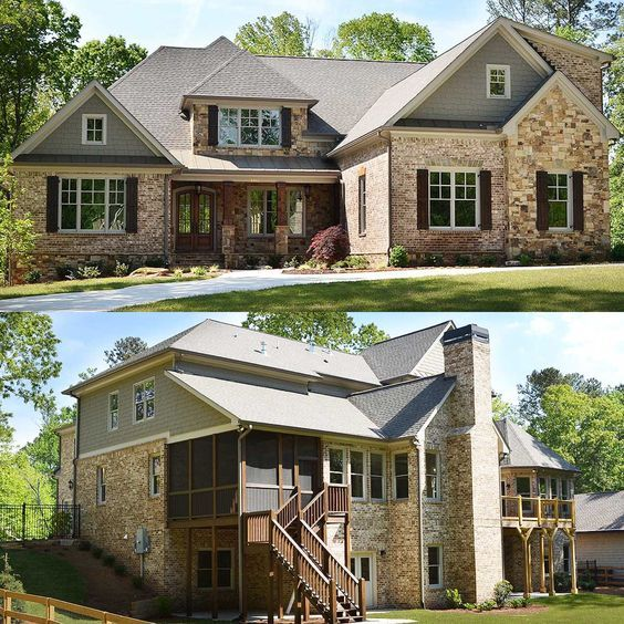 Brick, stone and wood combine to great effect on Architectural Designs Exclusive House Plan 29886RL. The master suite is on the main level and i the home gives you from 4 to 8 bed - depending on if you build out the optional finished lower level or not - and has great views in back.   Ready when you are. Where do YOU want to build?