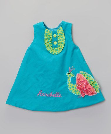 Loving this Blue & Green Peacock Personalized Dress - Toddler & Girls on #zulily! #zulilyfinds