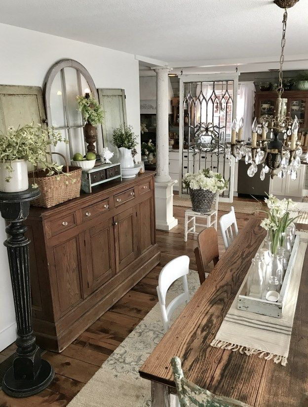 Dining Room Buffet Farmhouse Table Repurposed From Library Table
