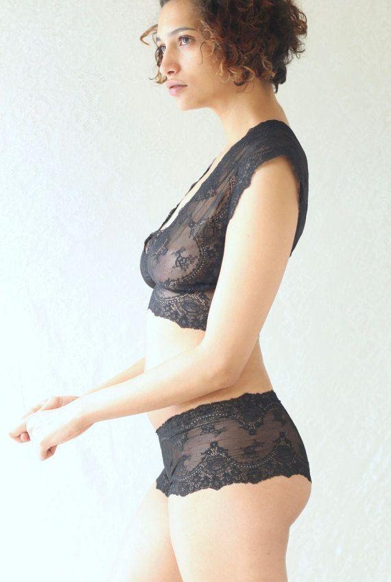 af4e3156b1acd Black lace lingerie sexy sheer lace bralette lingerie set black lace ...