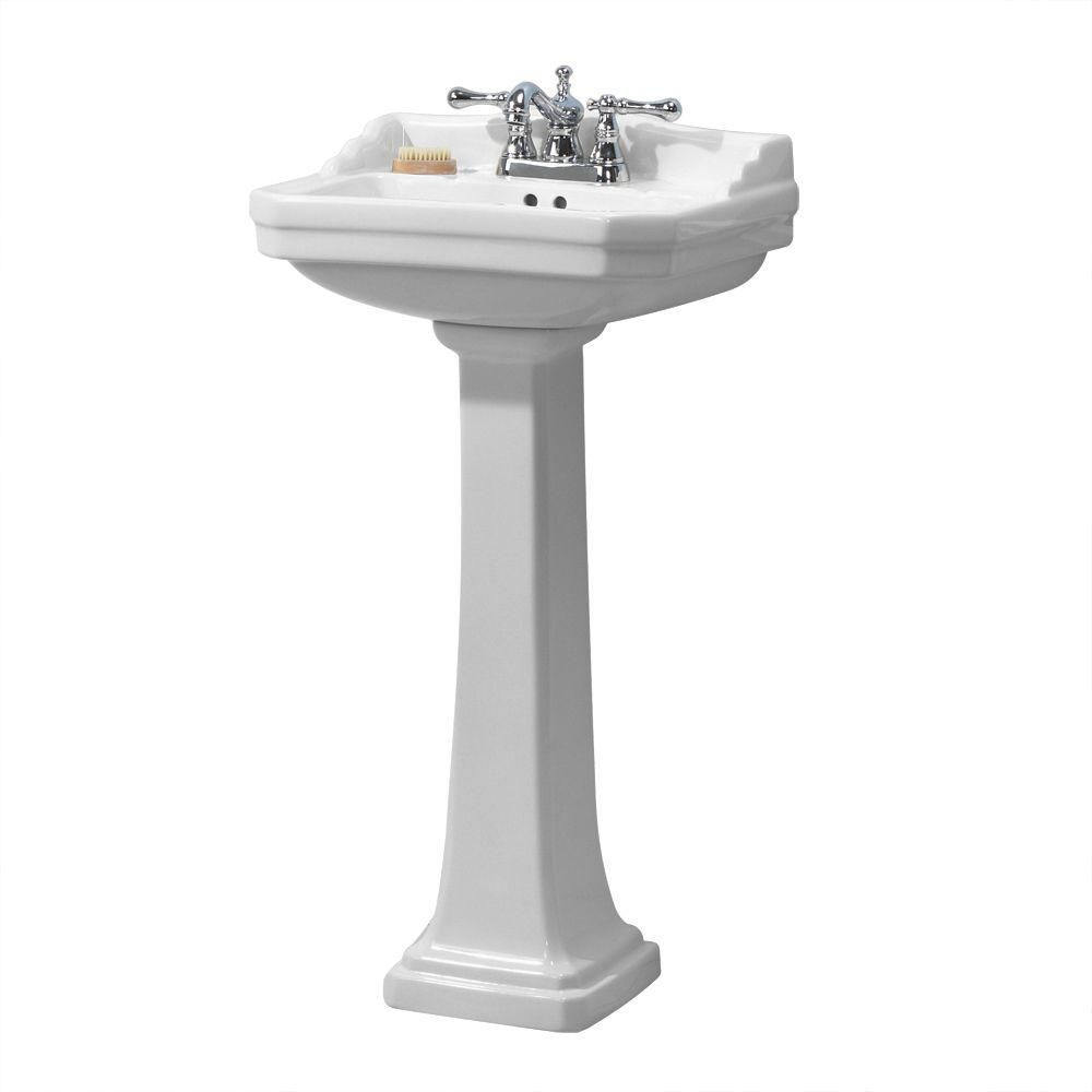 Foremost Series 1920 Pedestal Combo Bathroom Sink In White Fl 1920 4w The Home Depot Pedestal Sink Bathroom Small Bathroom Sinks Pedestal Sink