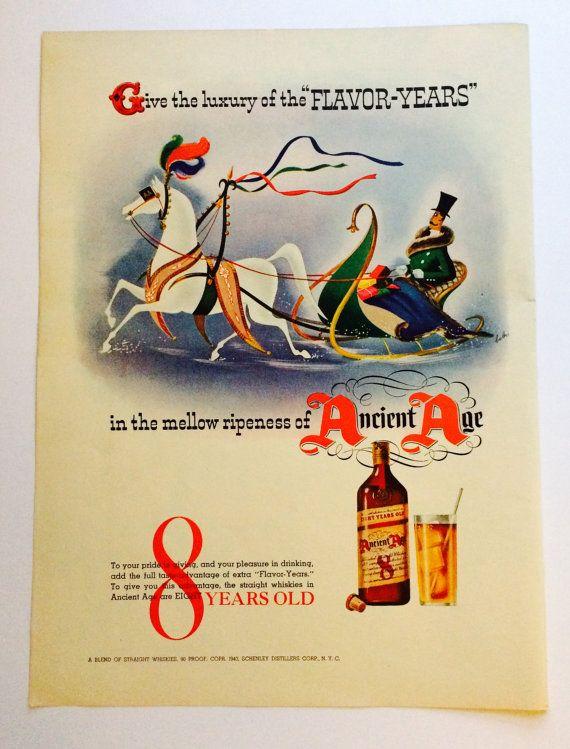 1940s Christmas Ad Ancient Age Straight Whiskey Liquor, Gentleman ...